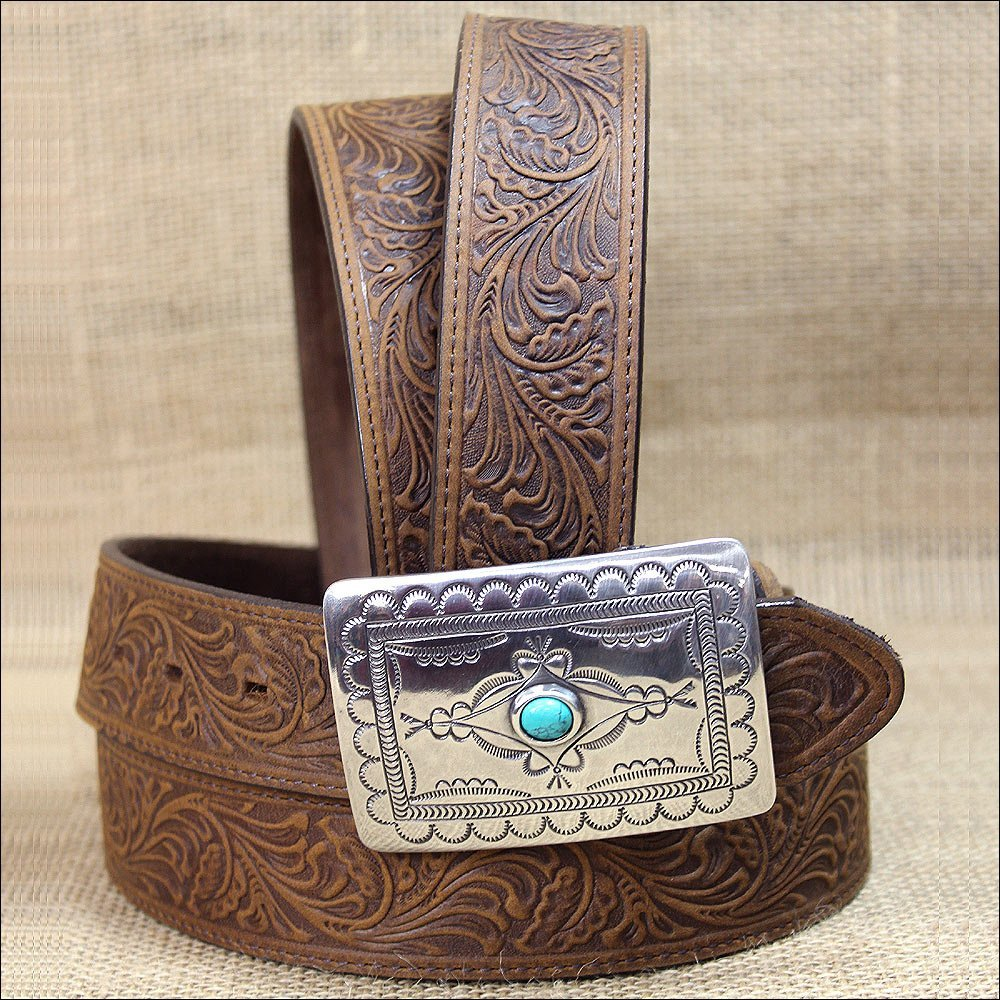 38 inch TONY LAMA WOMEN AGED BARK BROWN NAVAJO SPIRIT TOOLED LEATHER WESTERN BELT