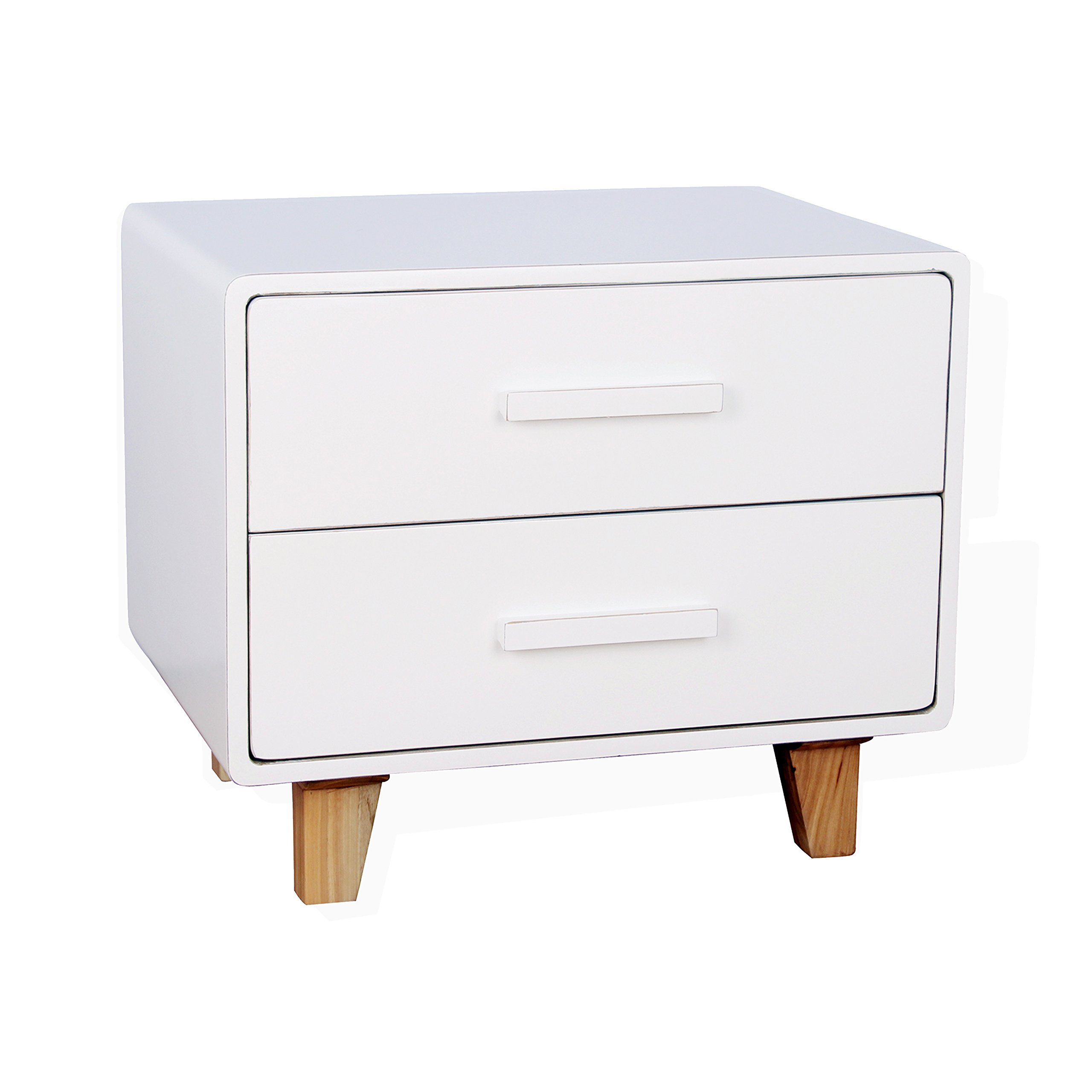 Porthos Home CB165B WHT Juniper Mid-Century Nightstand with Two Sliding Drawers, Made of Solid Wood, White