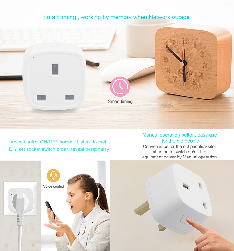 Smart Home Automation WiFi Plug Socket UK Standard Enabled Alexa Echo Max  10A DIY Smart Home System, View smart home, AXAET Product Details from