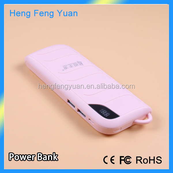 Promotion 15000mAh power bank with digital dispaly portable power pack with 2 usb foe mobile phones