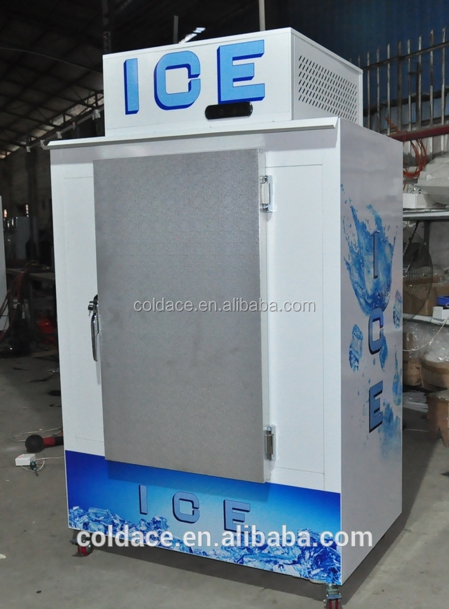 Cube ice storage bin commercial refrigerator used in gas station