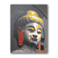 Traditional Buddha Portrait Abstract Picture Wall Painting Art For Restaurant