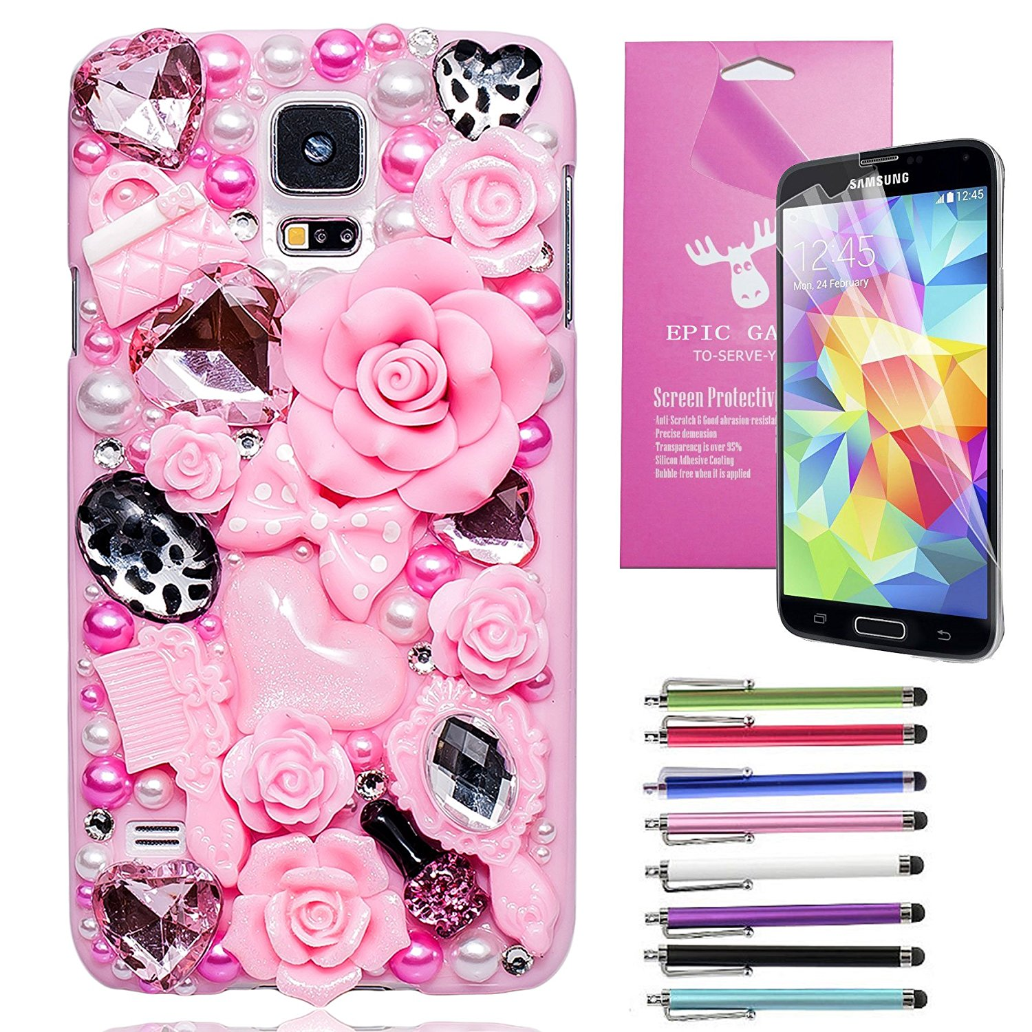 EpicGadget(TM) Samsung Galaxy S5 Handmade Luxury Crystal Bling Bling Fairy Tale Case For Samsung Galaxy S5 i9600 + S5 i9600 Screen Protector + 1 Stylus Pen (Random Color) (US Seller!!) (Pink Flower Fairy Tale Case)