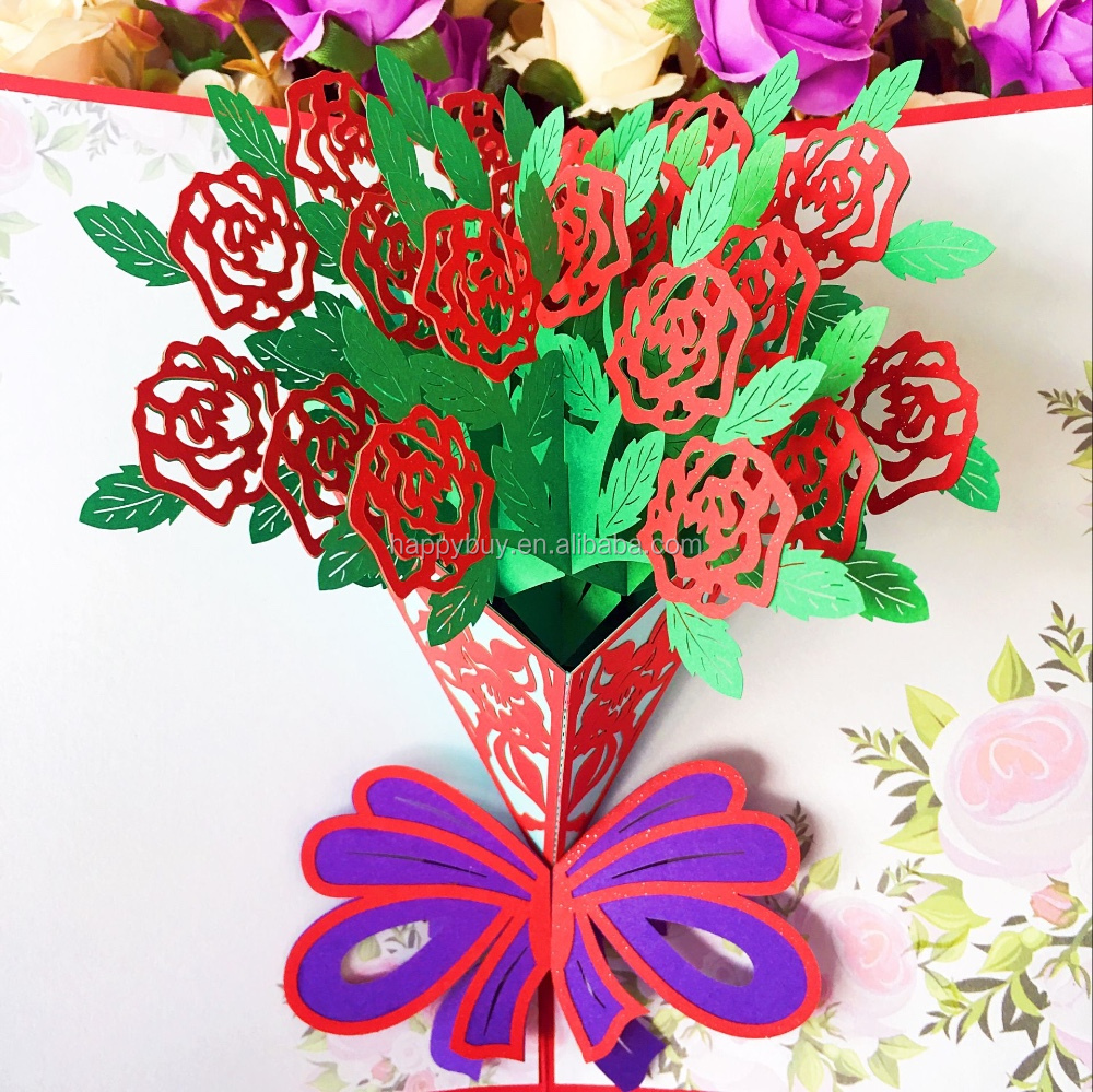 Beautiful Red Rose Flower 3d Pop Up Wedding Invitation Greeting Card ...