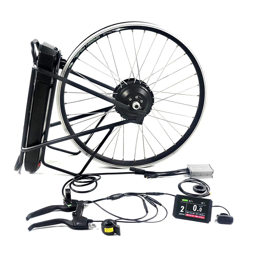 Greenpedel 250W wheel hub motor 20 inch rear wheel electric bicycle motor kit with rack battery, Black/silver