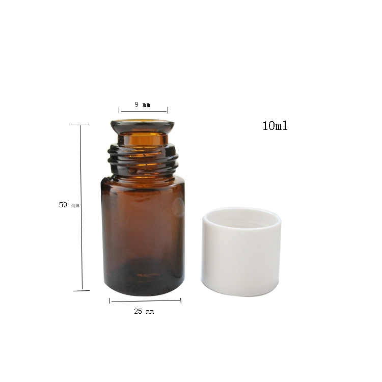 Good Quality 10ml Brown Glass Bell Shaped Mouth Essemtial Oil Bottle with Plastic Screw Cap