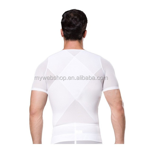 Burning Fat Men Body Shaper Short Sleeve Vest 180 Grams Net Fabric Zipper Corset