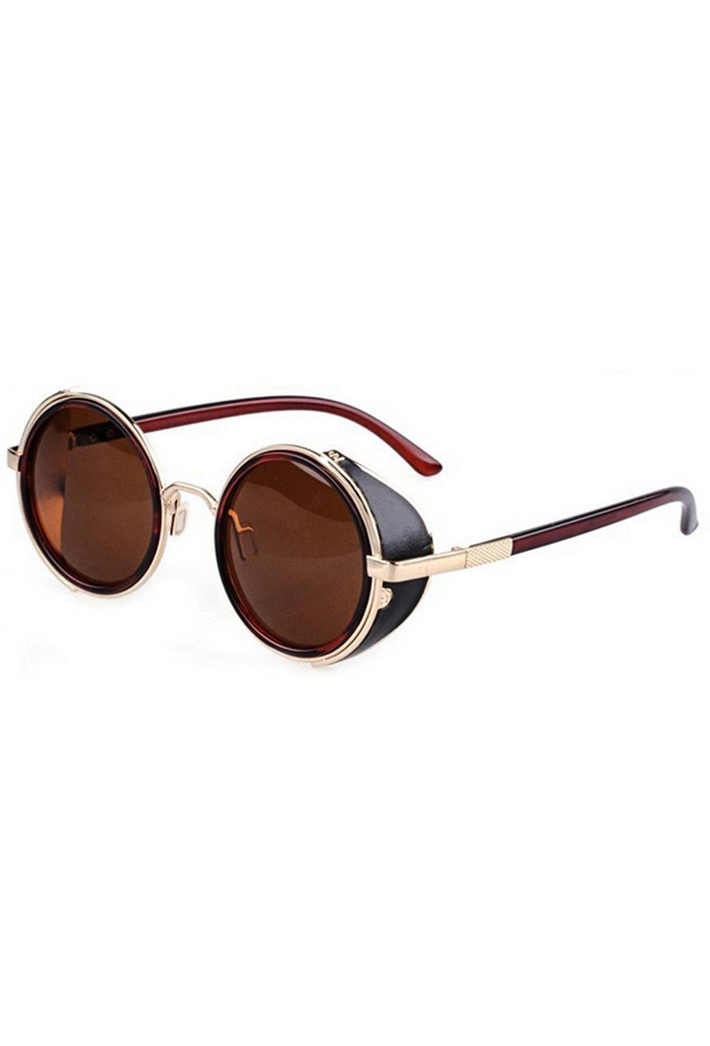 TOOGOO(R)80's Vintage Style Classic Round Steampunk Sunglasses-Dark Brown with Gold Edge