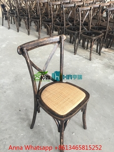Oak Wood Rattan Seat Wedding Dining Cross Back Chair