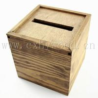 Collection Box 5x 5x 5 Voter Ballot Box Fundraiser Wedding Church Donation Comment Box Stained Special Walnut