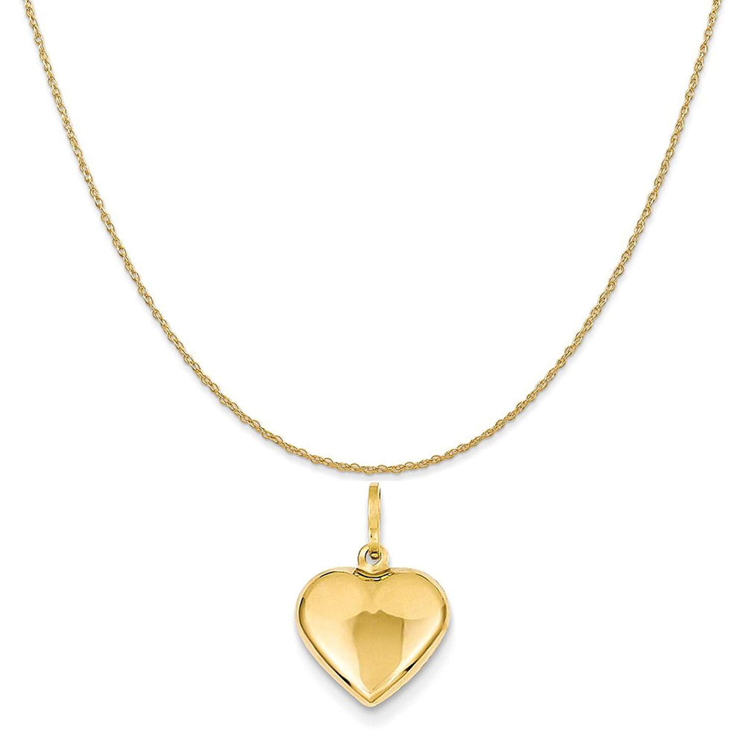 "14k Yellow Gold Puffed Heart Charm on a 14K Yellow Gold Rope Chain Necklace, 16""-20"""