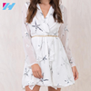 YIHAO High Quality Latest Design One Piece Print Chiffon Korean Women Casual Dress With Tassels