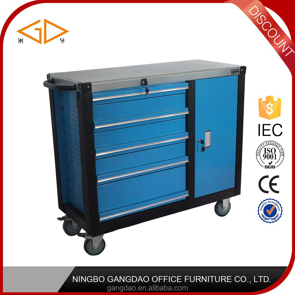 Ningbo heavy duty 5 drawers Steel tool chest tool box roller cabinet for workshop