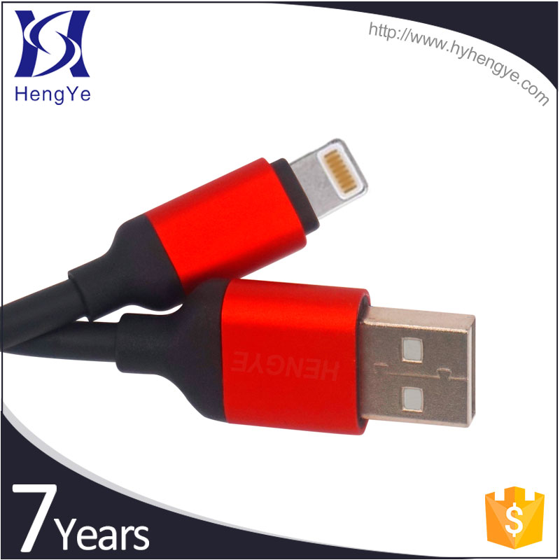 Round colorful PVC / PET 2.0 usb IOS type 8pin usb charging data cable for iphone
