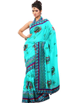 Rajlaxmi Fashion Party Wear Sky Blue Colored Bhagalpuri Silk Saree With Unstitched Blouse