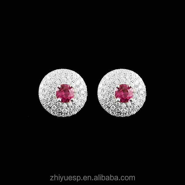 wholesale price 925 Sterling Silver Ruby Earrings In Stock