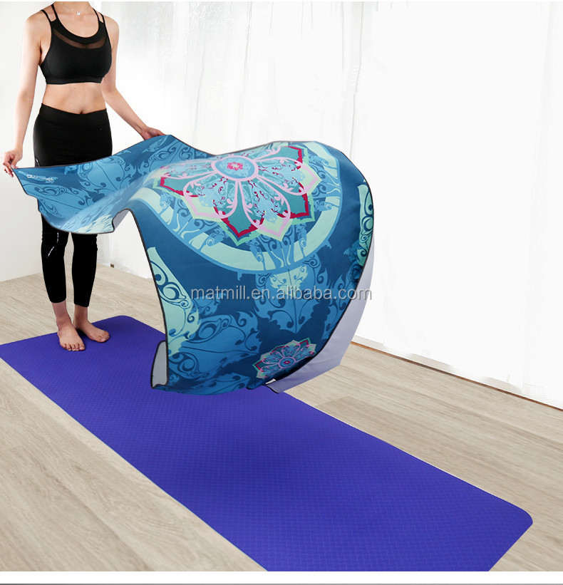 Anti slip full color printing hot yoga towel