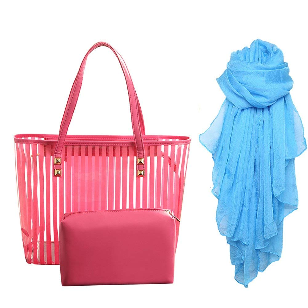 c8b5c38525 Get Quotations · STONG Waterproof Clear Beach Tote Bags Transparent PVC  Zipper Stripe Beach Shoulder Handbag with Interior Pouch