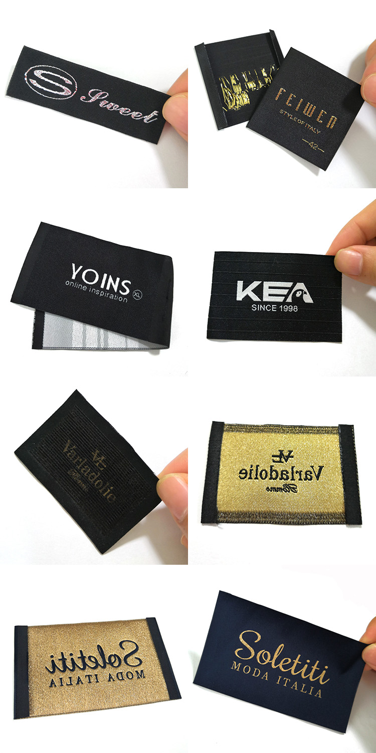 High density custom logo suit clothing woven label for garment
