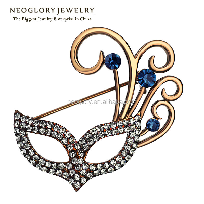 Neoglory Auden Rhinestone Coffee Gold Plated Charm Mask Shaped Brooches for Women Fashion Jewelry Accessories 2016 New Arrival