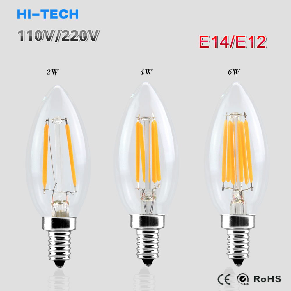 e14 e12 led light 110v 220v 2w 4w 6w led filament bulb candle light lamp lampada led retro. Black Bedroom Furniture Sets. Home Design Ideas