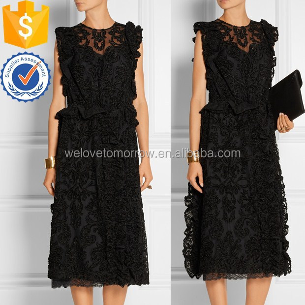 Wholesale women sleeveless black floral appliqued tulle dress for girls and ladies