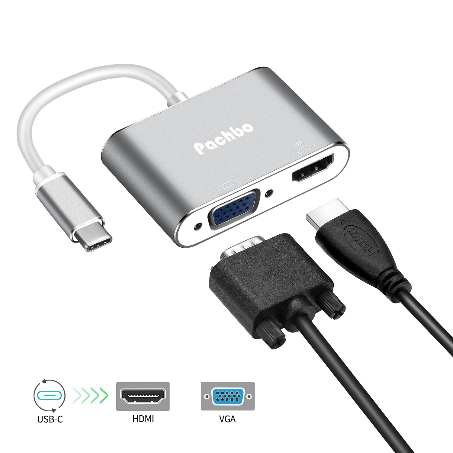 """Pachbo USB-C To HDMI VGA Adapter,2 in 1 USB 3.1 Type-C to VGA HDMI 4K UHD Converter Adapter Dual screen display for MacBook 12""""/MacBook pro 13"""" 2016 2017,Samsung Galaxy S8/S8 Plus/Note 8 and more-gray"""