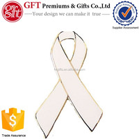 Custom 1 Inch Silver Plated Color Filled WHITE RIBBON AWARENESS PIN