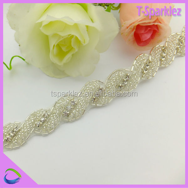 Rhinestone Beaded Applique Patch Bridal Sash Wholesaler