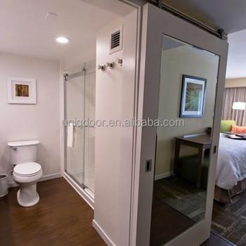Hotel Sliding Barn Door Mirror Inlay Mdf Hanging
