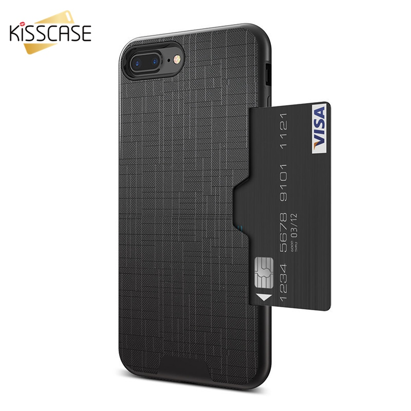 KISSCASE ID Credit Card Phone <strong>Case</strong> For iPhone X XS Max XR Card Slot Silicone <strong>Case</strong> For iPhone 7 8 6S Cover