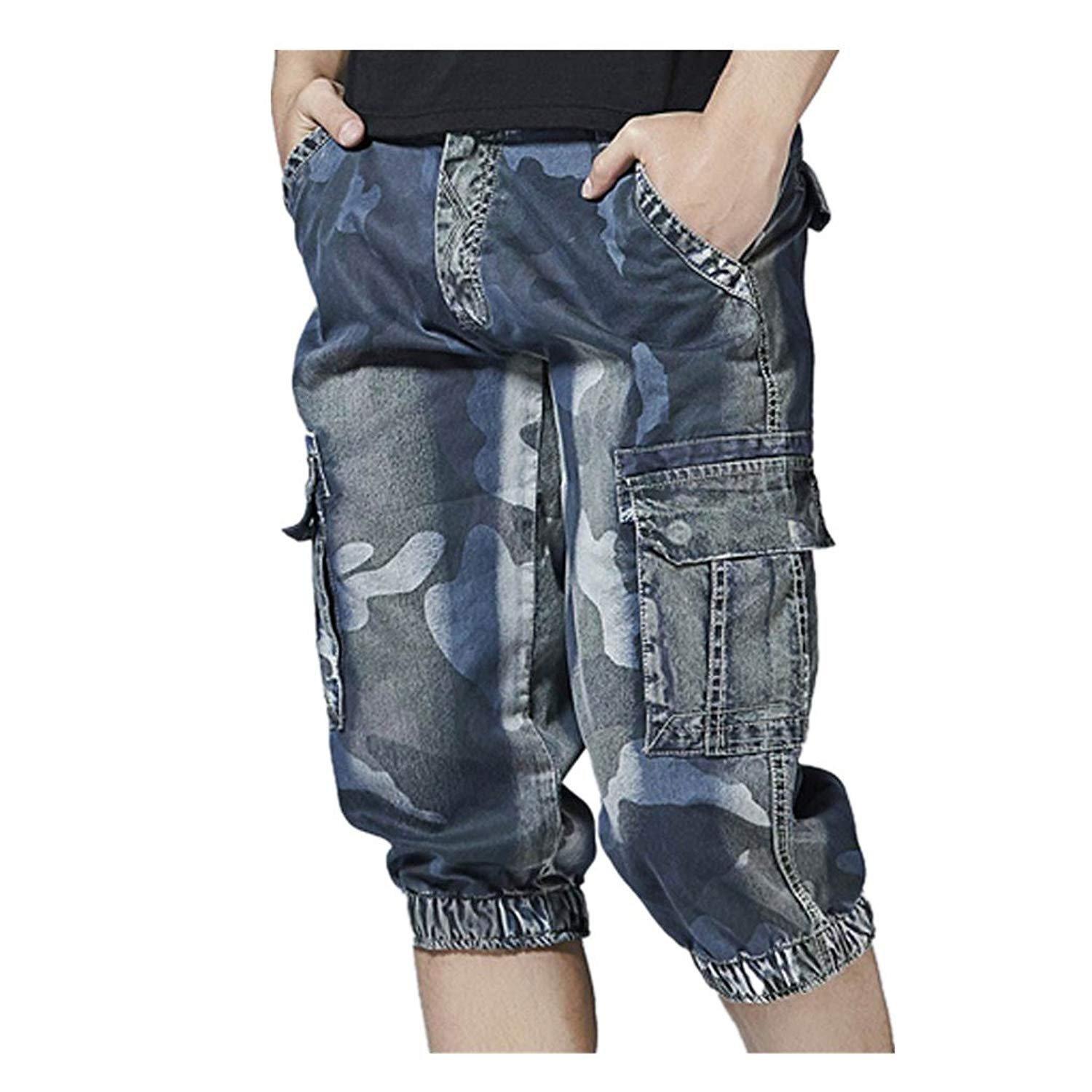 FarJing Mens Shorts Clearance,Mens Fashion Casual Pocket Beach Shorts Work Casual Short Pants