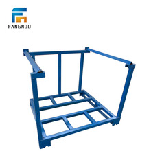 Foldable steel mobile pallet tire storage stacking rack