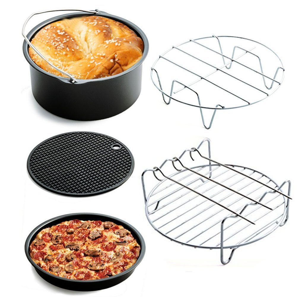 RENZE Air Fryer Accessories Set Of 5 Deep Fryer Universal For Gowise Phillips And Cozyna, Cake Barrel, Pizza Pan, Silicone Mat, Skewer Rack, Metal holder Fit All 3.7QT,Black