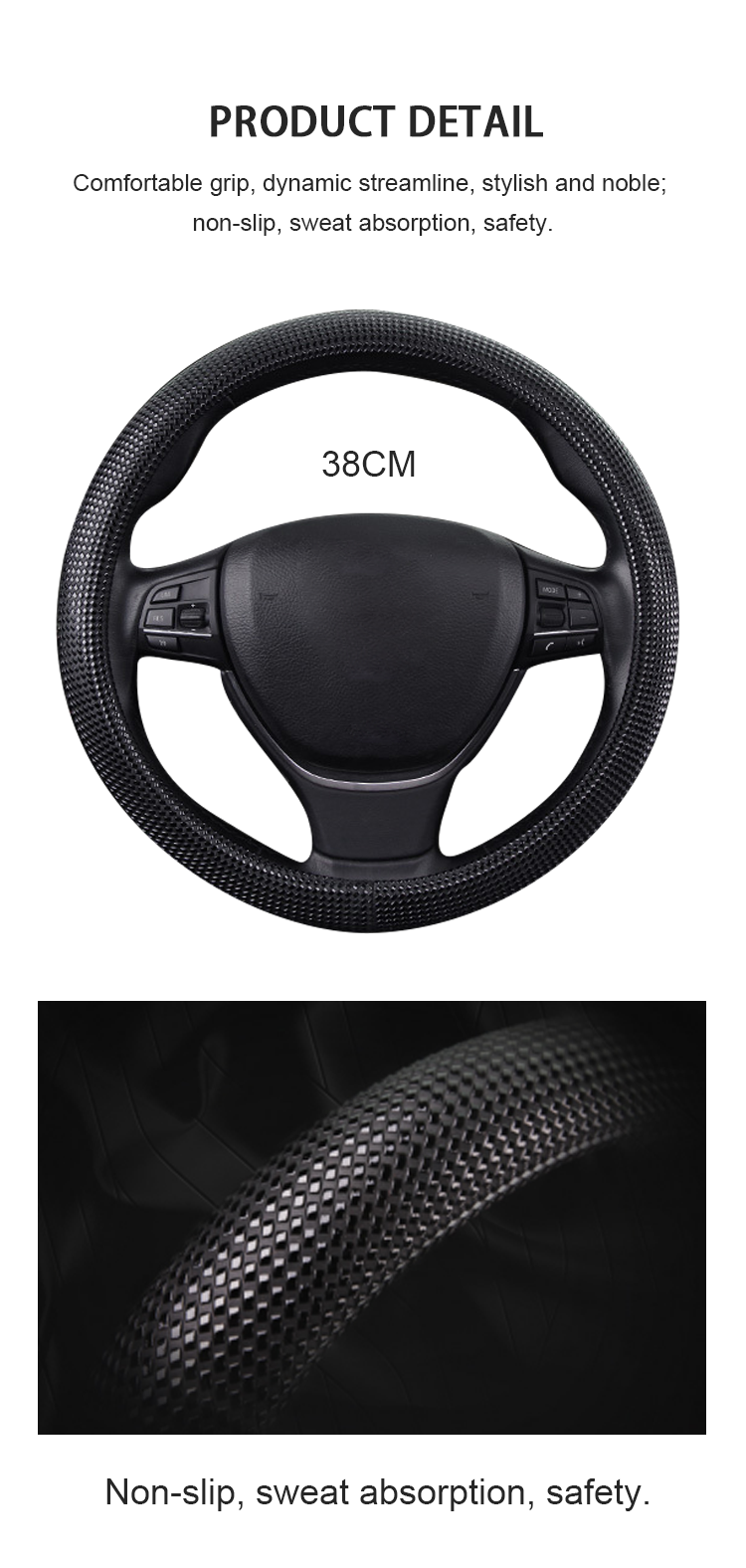 FX-P-101 1.5 inch PU leather steering wheel cover
