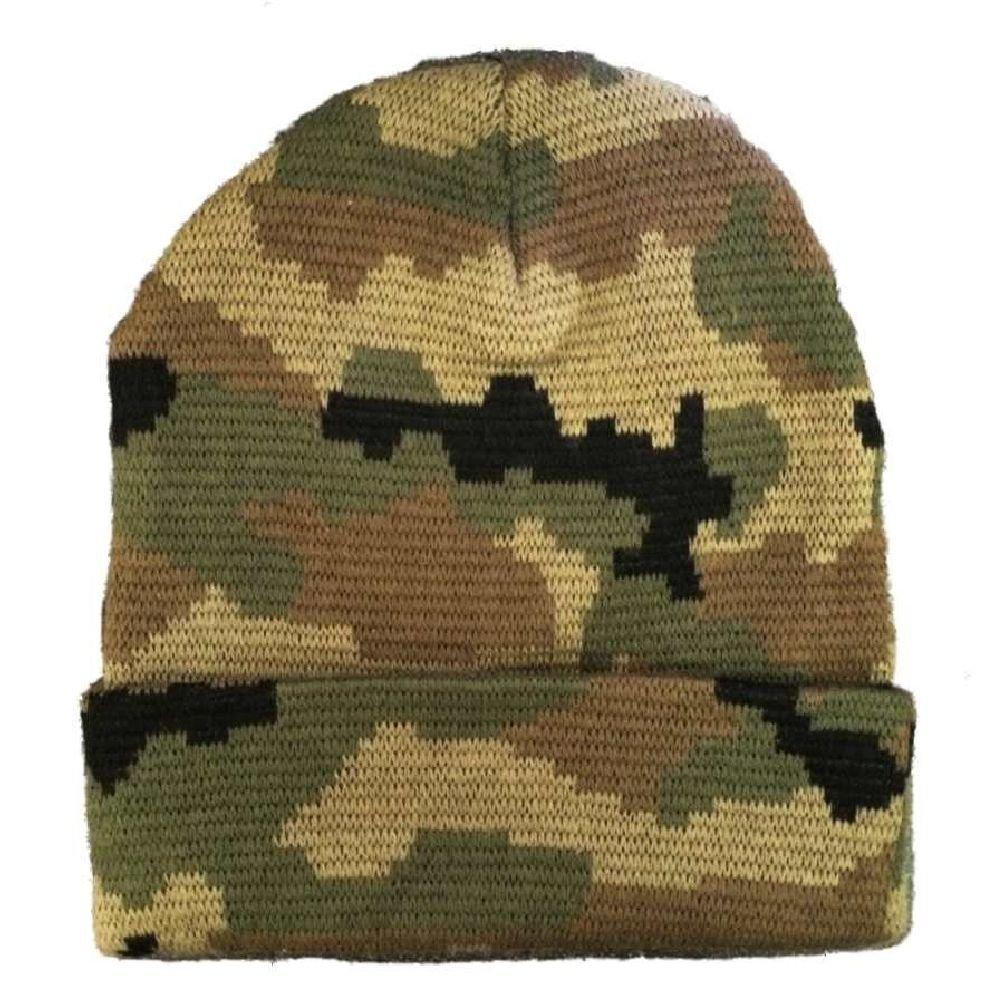 Woodland Green Knit Skull Hunting Camo Camouflage Ski Winter Beanie Hat Hats Cap