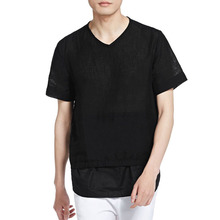 clothing manufacturing companies adult 2016 attractions cotton Linen Men's clothing fashion v-neck Men's T shirt