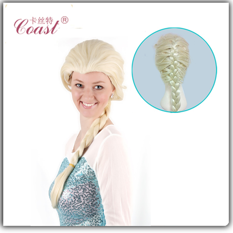 fashion elsa costume anime cosplay wigs long braid hair