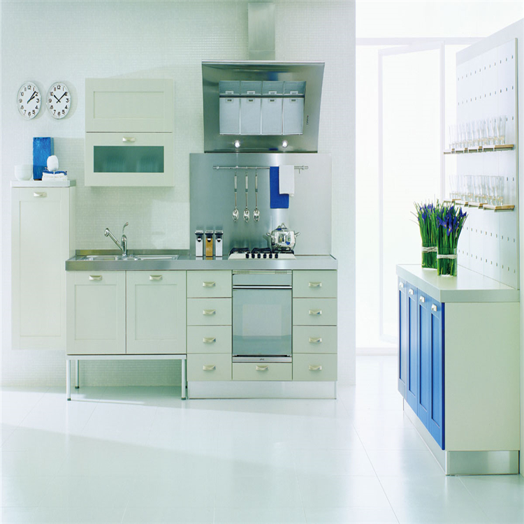 Shaker Style Blue PVC Membrane kitchen cabinets With Simple <strong>Design</strong>