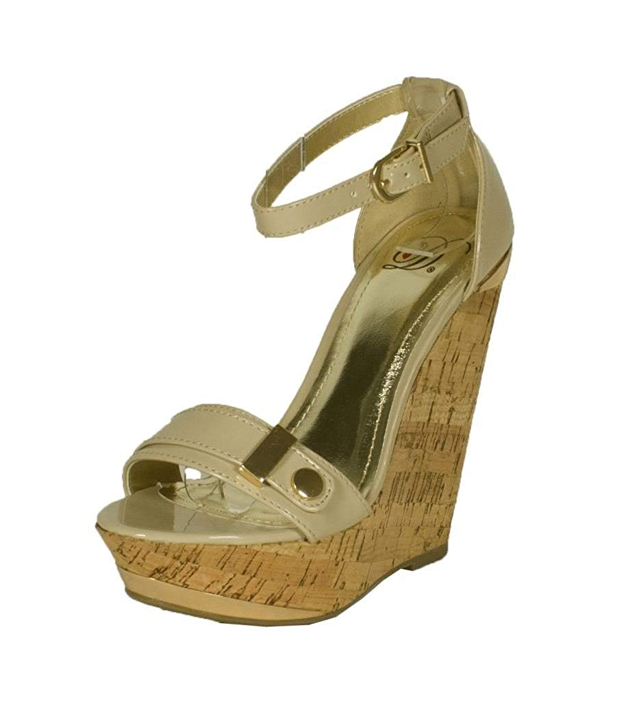 90caf8fad8bd Get Quotations · Lustacious Women s Open Toe Platform Cork Wedge Sandal  with Ankle Buckle Strap and Gold Décor
