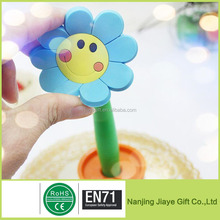Flower Promotional Silicone Gel Ballpoint Pen With Cap