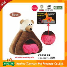 New!!! Comfortable Luxury Unique Design Cute Bear Shape Plush Padded Pet House with Self Warming Mat