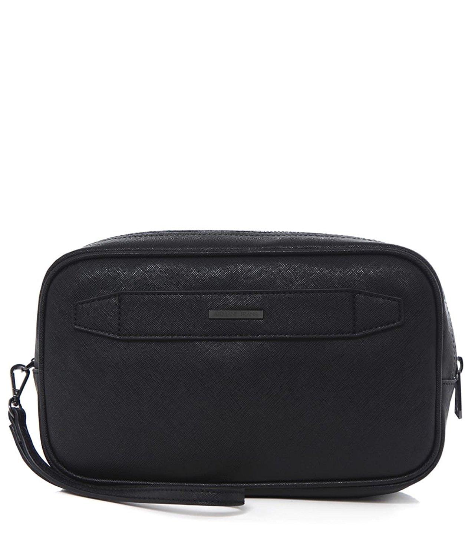 Get Quotations · Armani Jeans Men s Faux Leather Grained Wash Bag Black 64d00bc1ac7da