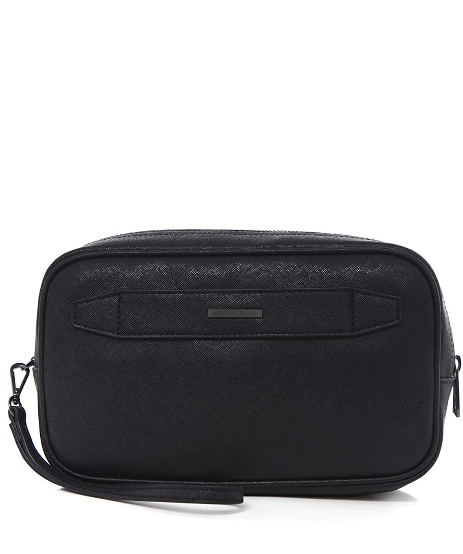 3fb3fffb53f9 Get Quotations · Armani Jeans Men s Faux Leather Grained Wash Bag Black