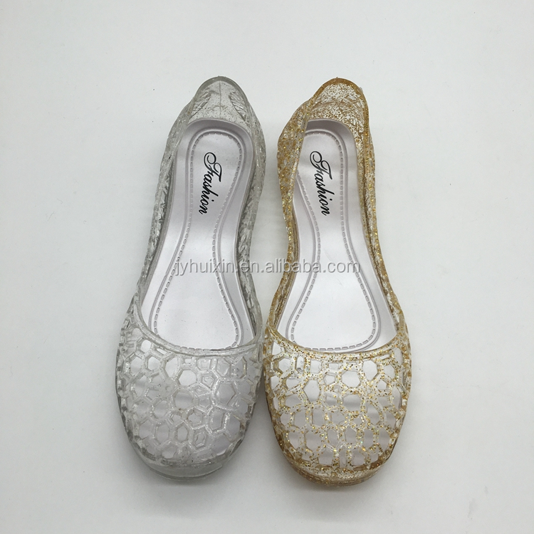 new design pvc sandals footwear clear jelly fancy female flat shoes for sale