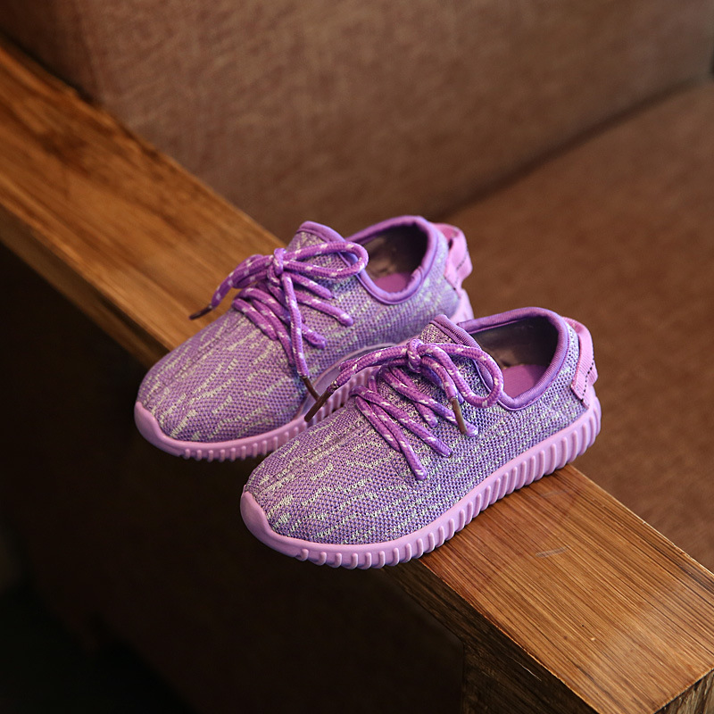 2016 kids shoes sneakers Breathable Coconut knitting running shoes pink gray purple Fashion Girls Boys Sports Shoes size 21-36