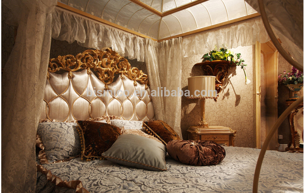 Luxury French Rococo Style Wood Carved Marquetry Canopy Bed Royal Four Poster King Size