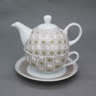 personalized brown geometry decal Porcelain Tea For One Set Stacked Teapot Cup Saucer