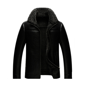 Professional manufacture 100% lamb winter black leather jacket garment with fur mens