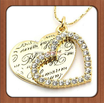 Dubai Gold Plated Engraved Name Couple Heart NecklaceBuy Dubai Gold ...
